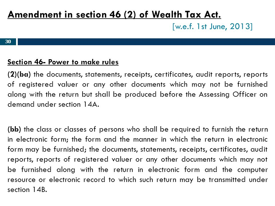 Amendment in section 46 (2) of Wealth Tax Act. [w.e.f. 1st June, 2013]